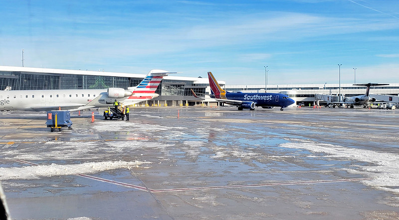 ROC Greater Rochester International Airport ramp action 3 Dec 2019. American CRJ-900 Southwest 737-700 Delta MD-88? -90?