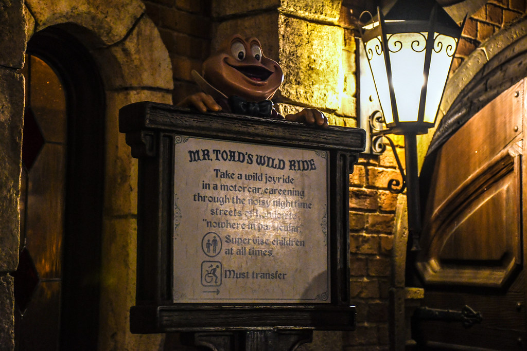 Mr Toad's Wild Ride night sign DL