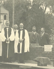 Laying of St Stephen's Parish Hall foundation stone, Willunga 1924. Fred and Art Self 2nd and 4th from left.