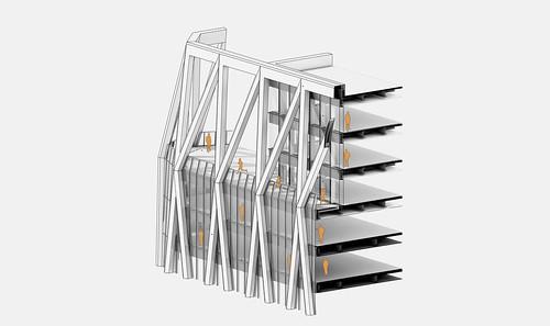 將主要結構放在建築立面,創造現代科技和前瞻外觀的同時,也帶來內部大片連續辦公空間(圖片取自JJPAN網站)