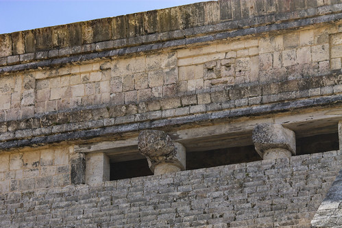 Another side of the top of El Castillo or Temple of Kukulcan , Chichen Itza, Mexico's Yucatán Peninsula