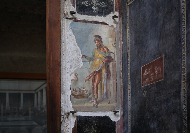 The fresco of  the famous Priapus is not so difficult to miss in Pompeii