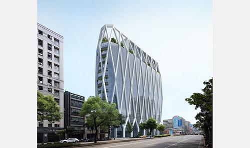 上海商業銀行總部大樓╱JJPAN潘冀聯合建築師事務所 - rendering 02 - 建築外觀(圖片取自JJPAN網站)