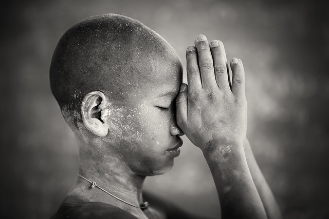 Myanmar (Burma), Buddhist novice in Salay