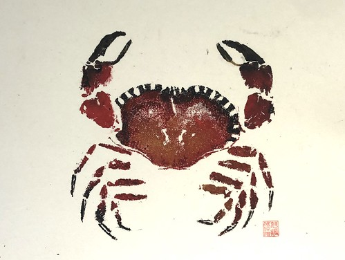 Crab 1 - 018 | £62 inc p&p UK | 2020 | 48.5x37cm | Chinese Paper on Watercolour Paper