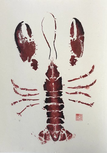 Lobster 2 - 017 | £52 inc p&p UK | 2020 | 35x48cm | Chinese Paper mounted on Watercolour Paper