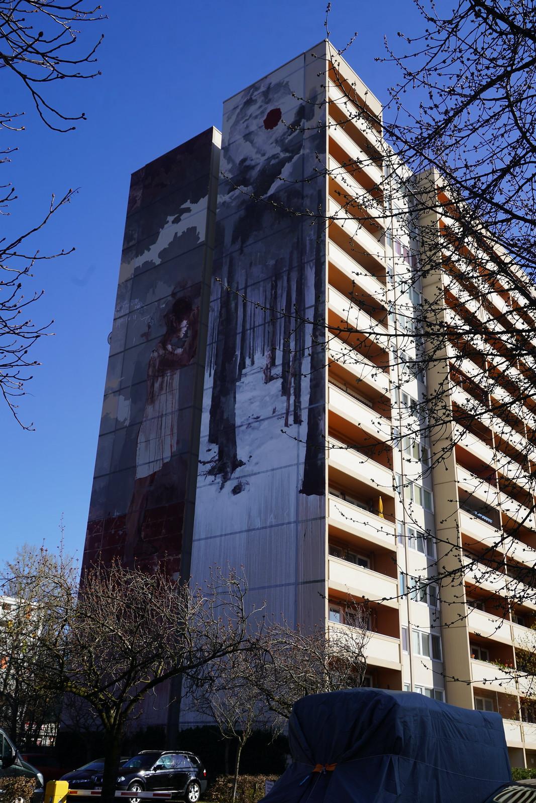 Flüchtlingskind Mural von Borondo