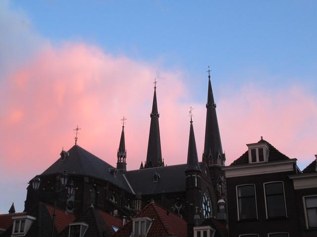 Maria van Jessekerk and sunset clouds from Markt, Delft, Netherlands