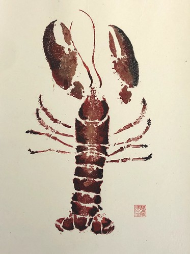 Lobster 1 - 0015 | 62 inc p&p UK | 2020 | 37.5x47cm | Chinese Paper mounted on Watercolour Paper
