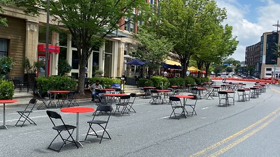 Streets in Bethesda, Maryland closed to accommodate outdoor restaurant patios and social distancing