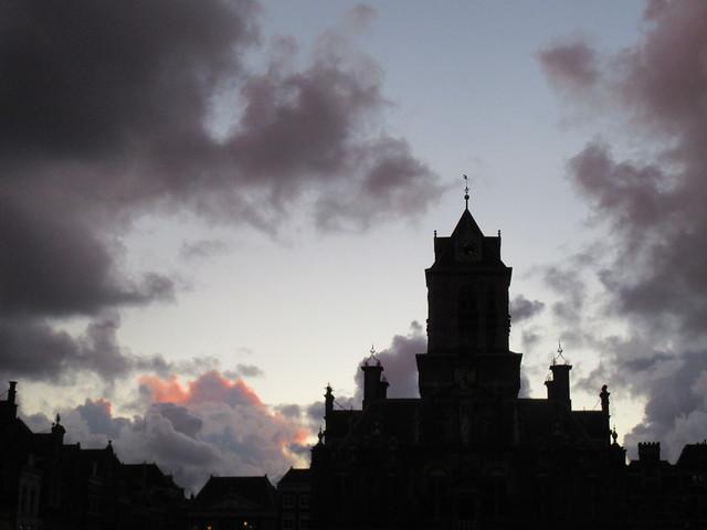 Twilight sky, silhouette of Stadhuis, Markt, Delft, Netherlands