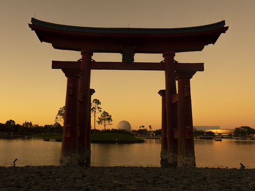 disney disneyworld japan worldshowcase epcot orlando florida sunset arch dome