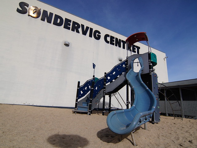A curved slide