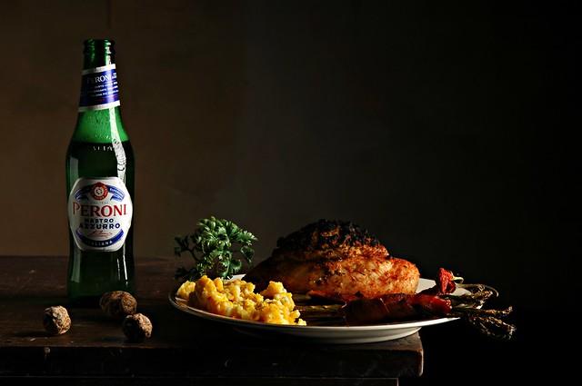 Boudin Stuffed Chicken and Peroni