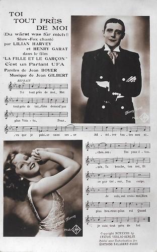 Henri Garat and Lilian Harvey in La fille et le garcon (1932), PC, Paris 18
