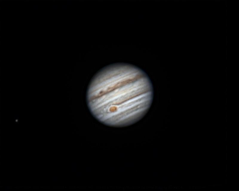 木星、エウロパ (2018/4/29 01:40) (撮影:けむけむ、画像処理:なんば)
