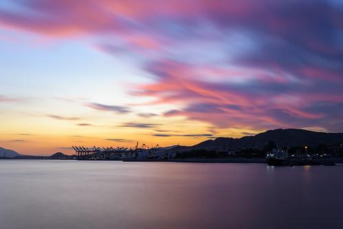 nikon d7200 long exposure photography landscape seascape drapetsona attica greece sky clouds sea port ships view purple blue hour orange horizon flickrexplore explored