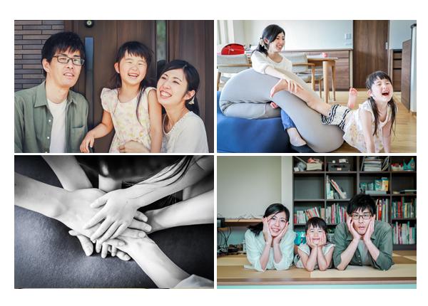 ご自宅でファミリーフォト 岐阜県岐阜市 カジュアルな服装とポーズ