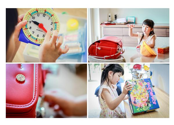 小学校入学前の新1年生の女の子 ランドセル 算数セットの時計