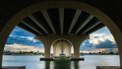 florida bridge baywaybridge stpetersburgfl transportation water sunset