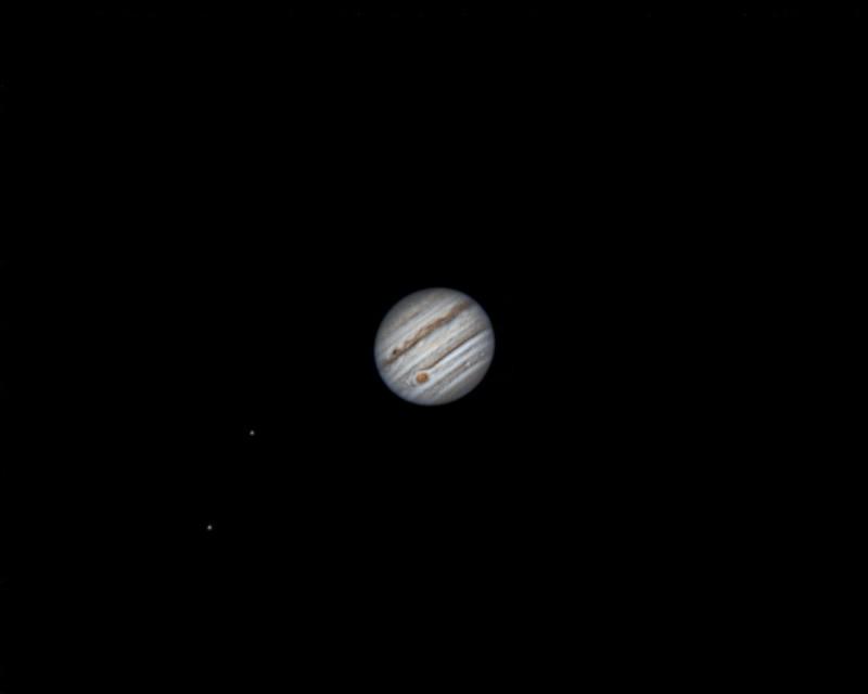 木星、イオ、エウロパ (2018/4/29 01:28) (撮影:けむけむ、画像処理:なんば)