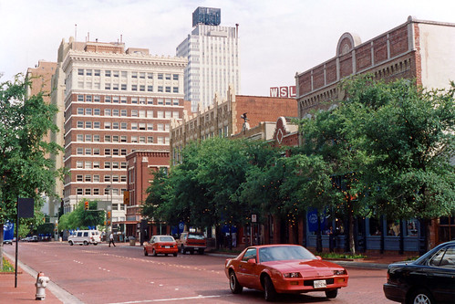 street architecture downtown cityscape texas 1993 1990s fortworth businessdistrict commercialbuildings