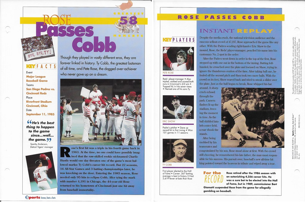 1997 Pete Rose Greatest Moments 41c