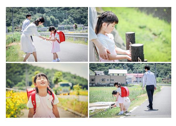 カジュアルスタイルの小学校入学記念の家族写真 ご自宅の周囲 緑がいっぱい!
