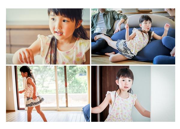 夏の家族写真 自然 カジュアルな服装 ご自宅撮影