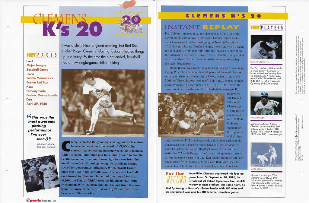 1997 Roger Clemens Greatest Moments 28c