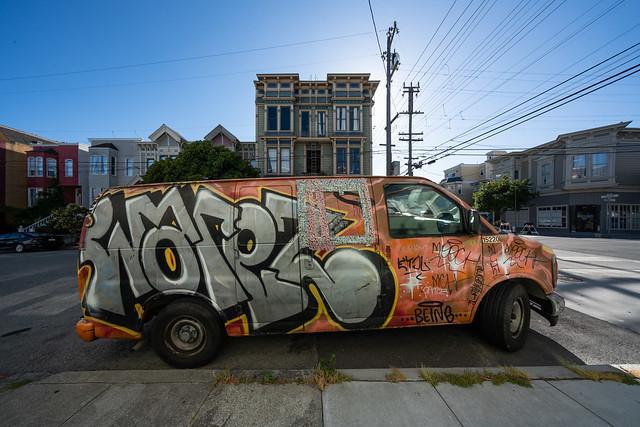 graffiti van and building with false owl