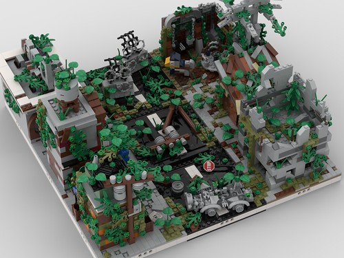 Lego Ruined City   build from 9 different mocs