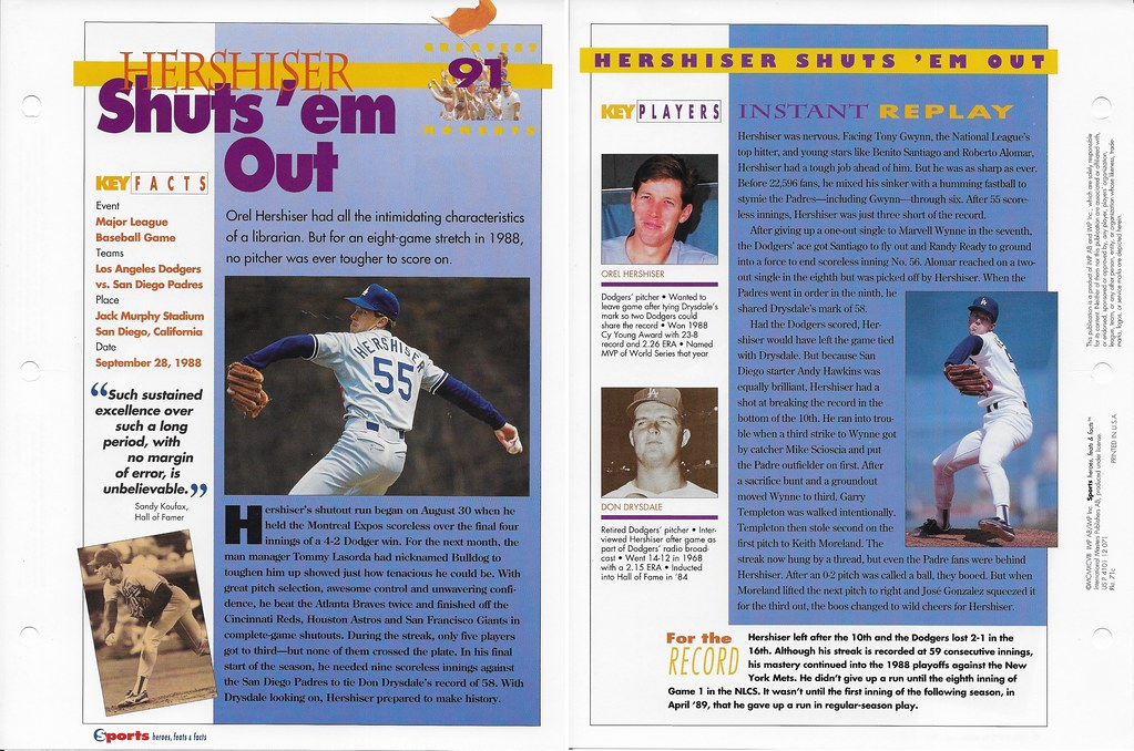 1997 Orel Hershiser Greatest Moments 71c