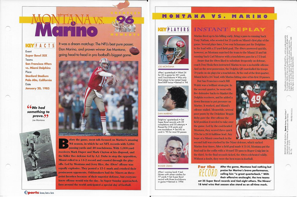1997 Joe Montana - Dan Marino Greatest Moments 72c
