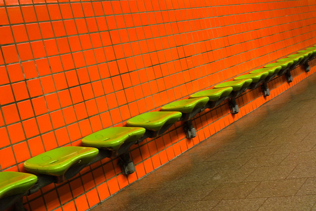 empty green bench