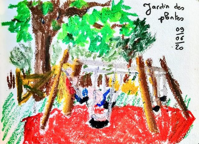 Les balançoires du jardin des plantes. Pastel gras.