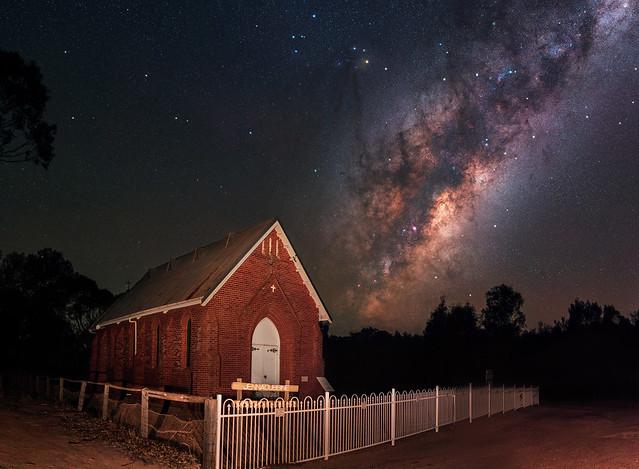 Milky Way rising above an old church at Jennacubbine, Western Australia