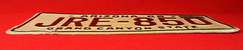 RD30315 Vintage 1966 Arizona License Plate JRE-850 Grand Canyon State DSC07836