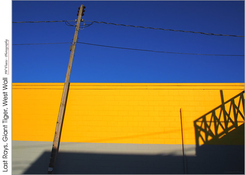grimsby downtown store gianttiger building concreteblock wall yellow grey sky blue hardlight sunset shadows stairs contrast telephonepole opensource rawtherapee gimp olympus omdem5 mzuiko1442mmez13556