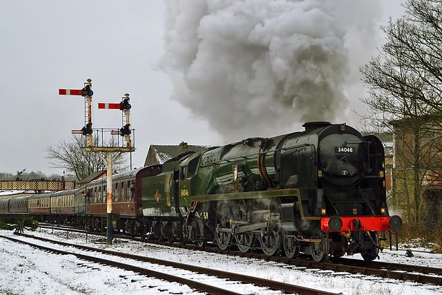 34046 Braunton departing Ramsbottom in the snow