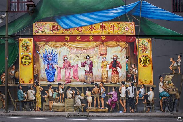 Cantonese Opera mural - Chinatown, Singapore