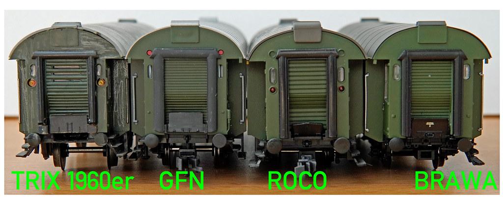 Umbauwagen Kopf am Kurzkupplungsende im Vergleich
