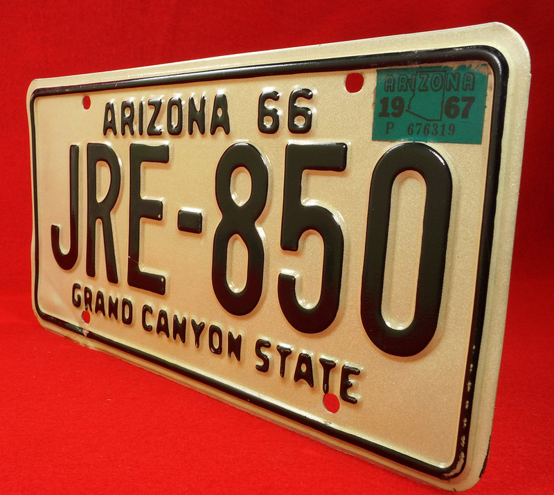 RD30315 Vintage 1966 Arizona License Plate JRE-850 Grand Canyon State DSC07839