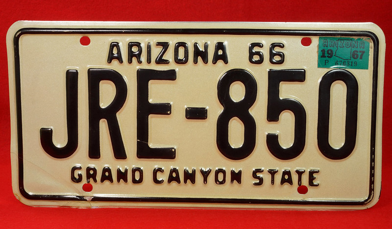 RD30315 Vintage 1966 Arizona License Plate JRE-850 Grand Canyon State DSC07838