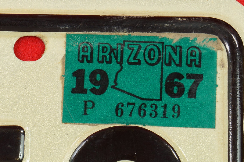 RD30315 Vintage 1966 Arizona License Plate JRE-850 Grand Canyon State DSC07831