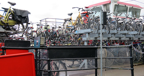 Bicycles galore at the bike parking next to the ferry terminal at Amsterdam Central Station, Holland
