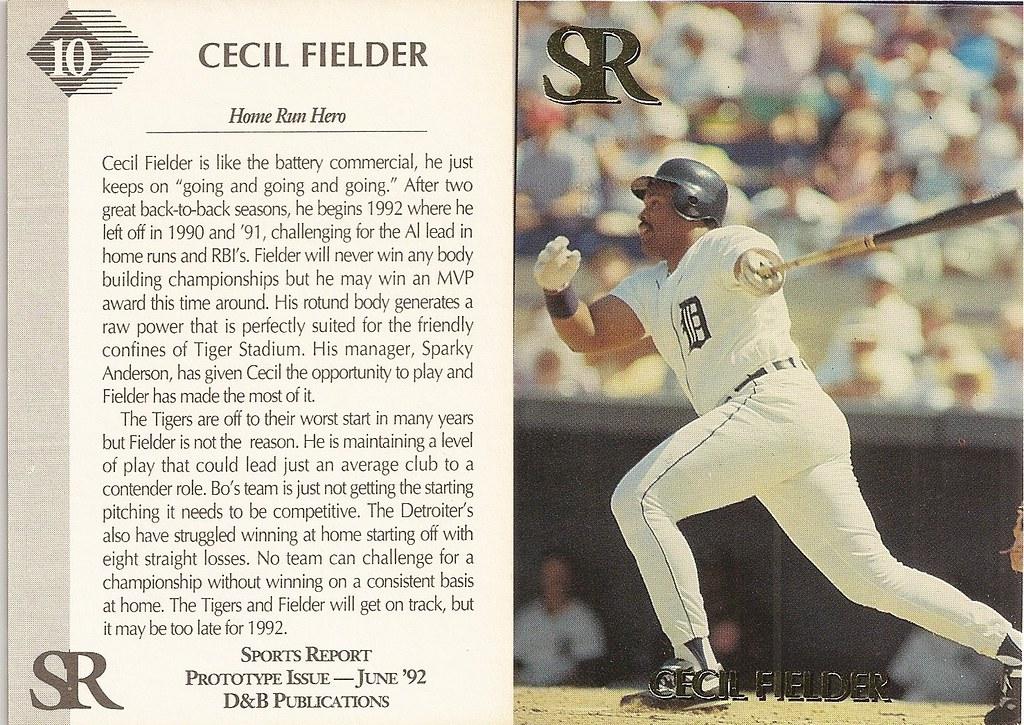 1992 Sports  Report Gold Magazine Insert - Fielder, Cecil
