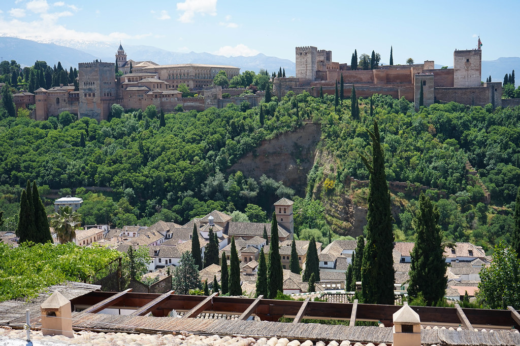 A view of the Alhambra in the background, with rooftops in the foreground. Tall trees rise up from between the buildings below. Behind the Alhambra, on the left, the are Sierra Nevada snowy mountain peaks.