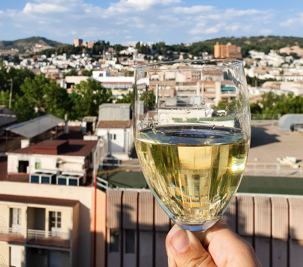 A glass of yellow cava raised over the view of the rooftops behind.
