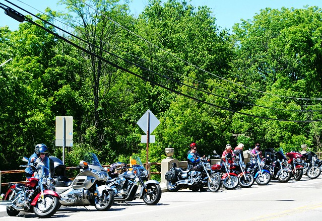 Bikers lined up in Richmond, Illinois